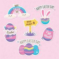 Happy Easter Day Sticker Collection vector