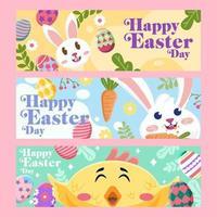 Happy Easter Festivity Set of Banner vector