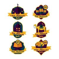 Promotional Labels Set For Eid Mubarak Event vector