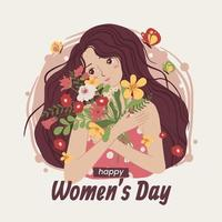Women Bring Flowers on Women's Day vector