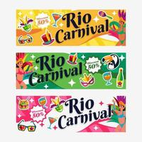 Set of Rio Carnival Banners vector