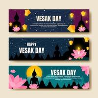 Happy Vesak Day Banner Collection vector