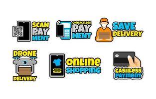 Contactless Technology Sticker Template Set vector
