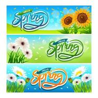 Spring Banner Collection Set vector
