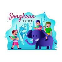 Children Playing Water Gun With Elephant in Songkran Festival Concept vector