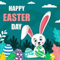 Cute Easter Bunny Holding Eggs vector