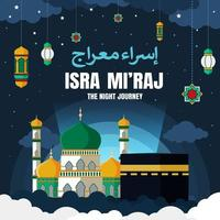 Isra Mi'raj Illustration With Flat Design vector