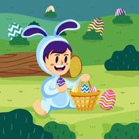 Niño viste traje de conejito de Pascua sostenga canasta de huevos en el concepto de parque vector