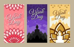 Happy Vesak Day Illustration Banner Set vector