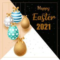Happy Easter with Blue and Gold Color Eggs vector