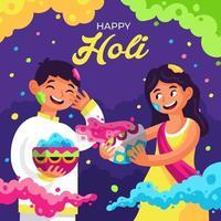 niño y niña celebrando el festival holi vector
