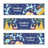 colorido conjunto de banners del festival de songkran vector