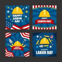 Labor Day Card Template Set vector