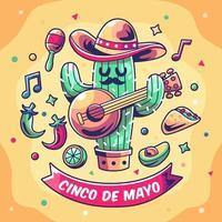 Cactus playing Guitar at cinco de mayo vector