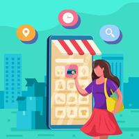 mujeres de la ciudad seleccionando artículos a través de su concepto de teléfono inteligente vector