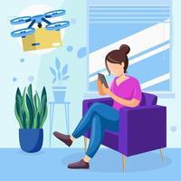 artículo de pedido de niña en línea con su teléfono inteligente en el concepto de hogar vector