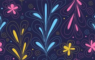 Colorful One Line Art Leaves And Flower Seamless Pattern vector