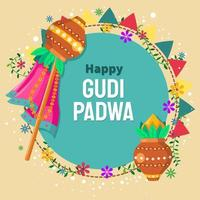 Happy Gudi Padwa Illustration With Sky Background vector