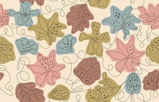 Seaweed and Cocoons Pattern One Line Art Background vector