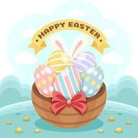 Colourful Easter Eggs in The Basket vector