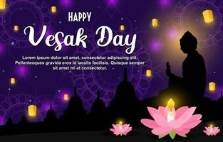 Happy Vesak Day Illustration With Night Background vector