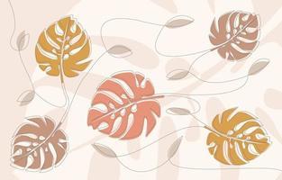 One Line Art Monstera Leaf vector