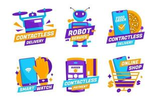 Untact or Contactless Technology Sticker Collection
