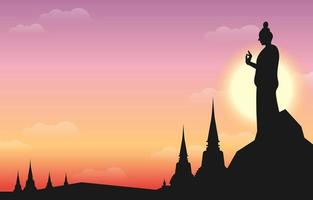 Statue of Budha Against Sunset vector