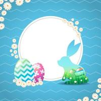 Bunny with Grass Panorama and Painted Egg Inside it Background vector