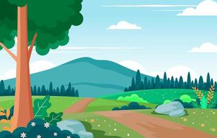 Beauty Nature Spring With Landscape Illustration vector