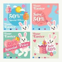 Set of Easter Social Media Template for Marketing vector