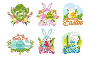 Happy Easter Sticker with Detailed Concept vector