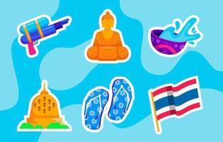 Songkran Water Festival Icon Collection vector