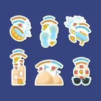 Colourful Songkran Festival Sticker Collection vector