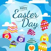 Easter Egg On The Sky High Template Concept vector