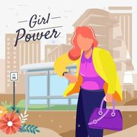 Working Women Waiting A Bus Concept