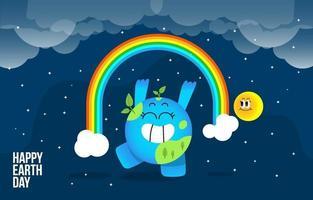 Cute Blue Earth With His Rainbow