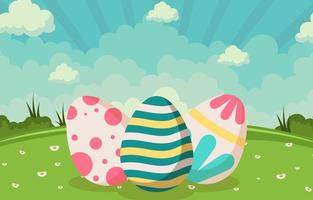 Three Different Kinds of Colorful Easter Eggs vector