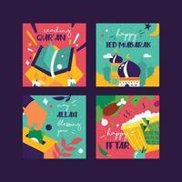 Ramadán kareem celebración eid publicación en redes sociales y tarjeta vector