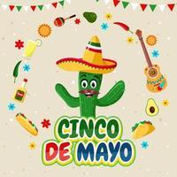 Happy Cinco De Mayo with Cactus Character vector