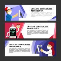 Contactless Technology Banner Template Set vector