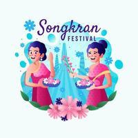 vestido étnico de dos mujeres jugando en el festival de songkran vector