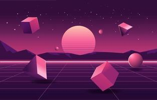 3D Shapes In Retro Futurism Style