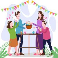 Family Celebrating Easter Day at Home vector
