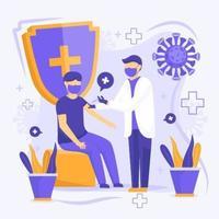 médico inyectando vacuna a un paciente vector