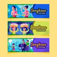 People Activities in Songkran Water Festival Banner