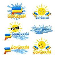 songkran soleado y salpicaduras de agua pegatina vector