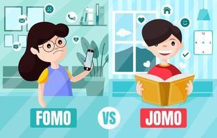 FOMO vs JOMO Fear and Joy vector