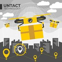 Contactless Technology Drone Delivery vector