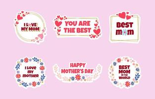 Happy Mothers Day Sticker Template Set vector